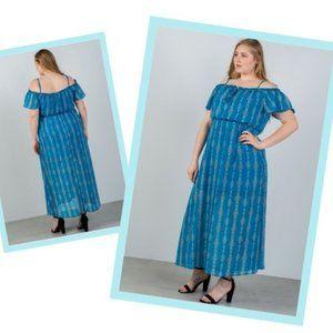 Blue Maxi Dress Geometric Cold Shoulder Plus Sz 1X